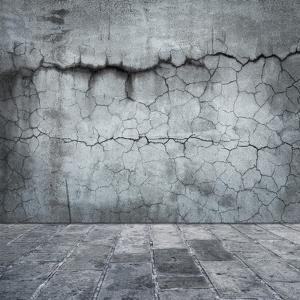 Grungy Distressed Stone Wall and Floor with Large Cracks by landio