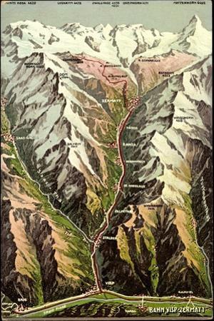 Landkarten Zermatt Kanton Wallis, Bahn Visp, Alpen