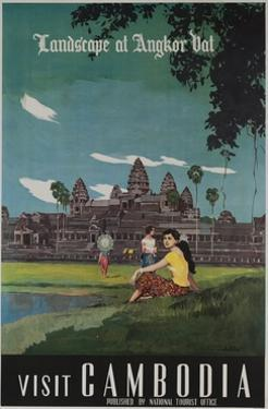 Landscape of Angkor Wat, Visit Cambodia 1950s Travel Poster
