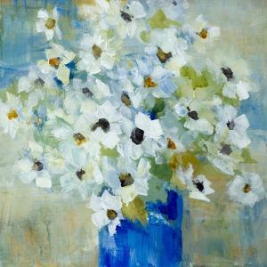 Pop of White Flowers in Blue Vase by Lanie Loreth