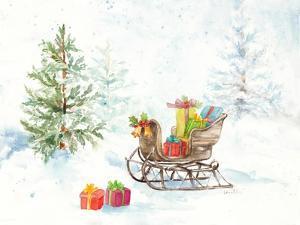 Presents in Sleigh on Snowy Day by Lanie Loreth