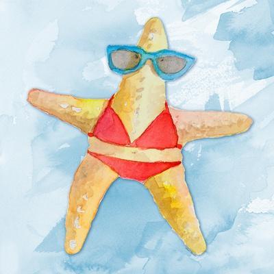 Red Bikini Starfish on Watercolor