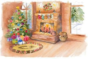 Santa's Fireplace and Tree Scene by Lanie Loreth