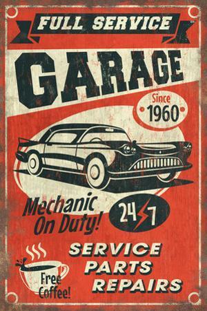 24/7 Full Service Garage - Vintage Sign by Lantern Press