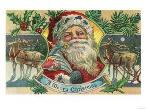 A Merry Christmas Santa and Reindeer Scene by Lantern Press