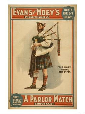"""A parlor Match """"Old Hoss"""" Scottish Bagpiper Poster by Lantern Press"""