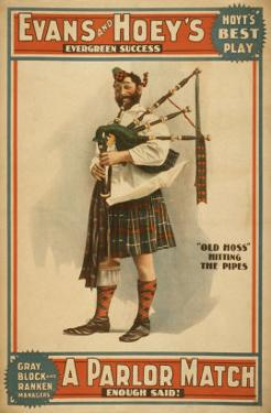 "A parlor Match ""Old Hoss"" Scottish Bagpiper Poster by Lantern Press"