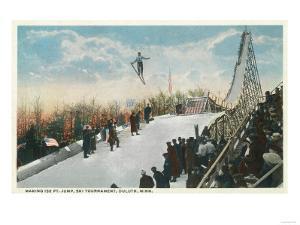 A Ski Tournament Jump, Skier Making 132 ft - Duluth, MN by Lantern Press