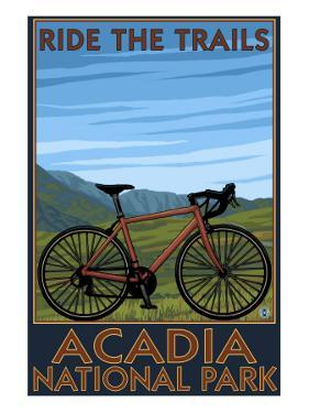 Acadia National Park, Maine - Bicycle Scene by Lantern Press