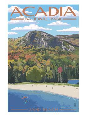 Acadia National Park, Maine - Sand Beach Scene by Lantern Press