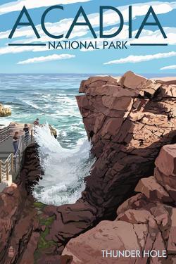Acadia National Park, Maine - Thunder Hole Day by Lantern Press