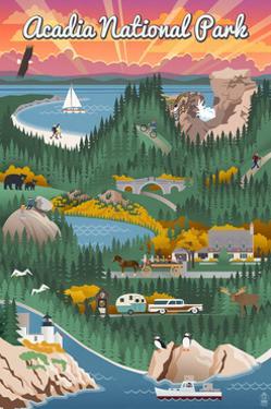 Acadia National Park - Retro View by Lantern Press