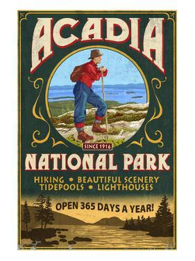 Acadia National Park - Vintage Hiker Sign by Lantern Press