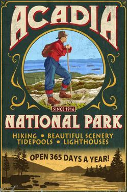 Acadia National Park - Vintage Hiker Sign by Lantern Press