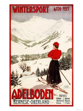 Adelboden, Switzerland - Woman Skier Overlooking Adelboden Poster by Lantern Press