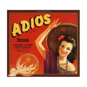 Adios Brand - Canoga Park, California - Citrus Crate Label by Lantern Press