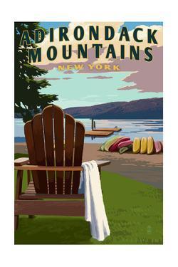 Adirondack Mountains, New York - Adirondack Chair and Lake by Lantern Press