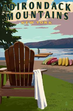 Adirondack Mountains, New York - Adirondack Chair and Lake by Lantern Press