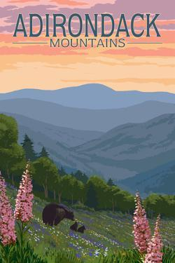 Adirondack Mountains, New York - Bears and Spring Flowers by Lantern Press