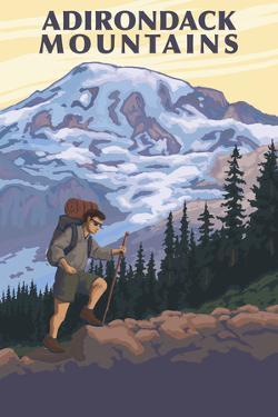 Adirondack Mountains, New York - Hiker and Mountain by Lantern Press