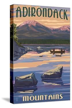 Adirondack Mountains, New York - Lake and Mountain View by Lantern Press
