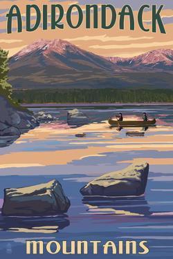 Adirondack Mountains, New York - Lake and Mountain View by Lantern Press