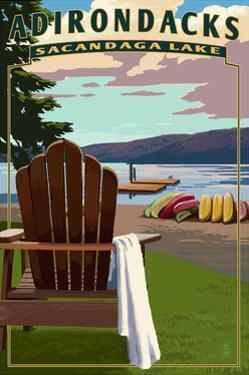Adirondack Mountains, New York - Sacandaga Lake Adirondack Chair by Lantern Press