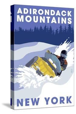 Adirondack Mountains, New York - Snowmobile Scene by Lantern Press
