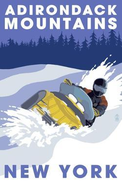 Adirondack Mountains, New York - Snowmobile Scene by Lantern Press