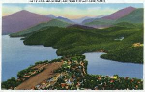 Adirondack Mts, New York - Aerial View of Lakes Placid and Mirror by Lantern Press