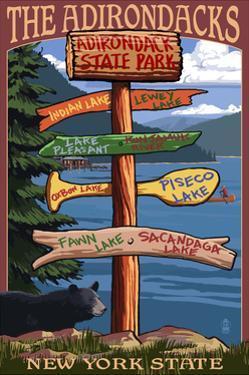 Adirondack, New York - Indian Lake Signpost Destinations by Lantern Press