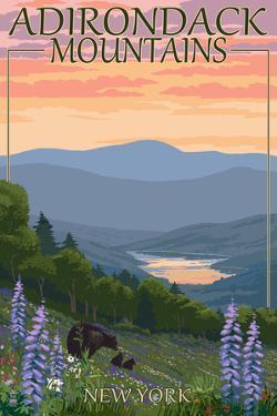Adirondacks Mountains, New York State - Bears and Spring Flowers by Lantern Press