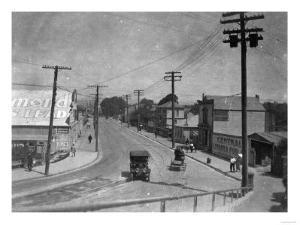 Aerial View of City Street near Beach - Santa Cruz, CA by Lantern Press