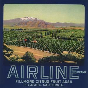 Airline Brand - Fillmore, California - Citrus Crate Label by Lantern Press