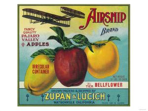 Airship Apple Crate Label - Watsonville, CA by Lantern Press