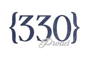Akron, Ohio - 330 Area Code (Blue) by Lantern Press