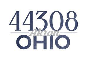 Akron, Ohio - 44308 Zip Code (Blue) by Lantern Press