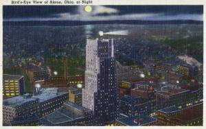 Akron, Ohio, Aerial View of the City at Night by Lantern Press