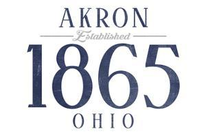 Akron, Ohio - Established Date (Blue) by Lantern Press