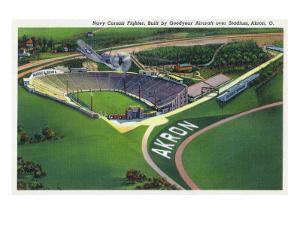 Akron, Ohio - Goodyear Navy Corsair Fighter over Stadium by Lantern Press