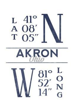 Akron, Ohio - Latitude and Longitude (Blue) by Lantern Press