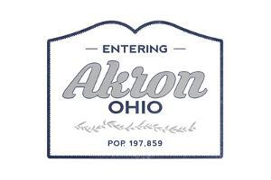 Akron, Ohio - Now Entering (Blue) by Lantern Press
