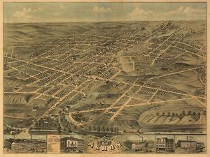 Akron, Ohio - Panoramic Map - Akron, OH by Lantern Press