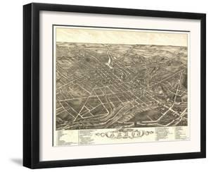 Akron, Ohio - Panoramic Map No. 2 - Akron, OH by Lantern Press