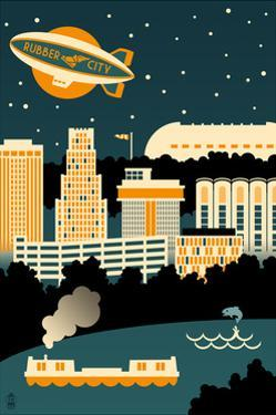 Akron, Ohio - Retro Skyline (no text) by Lantern Press
