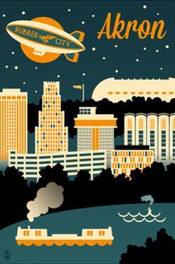 Akron, Ohio - Retro Skyline by Lantern Press