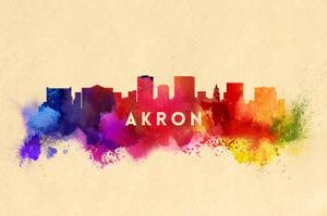 Akron, Ohio - Skyline Abstract by Lantern Press