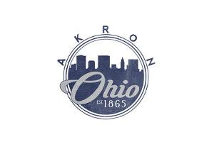 Akron, Ohio - Skyline Seal (Blue) by Lantern Press
