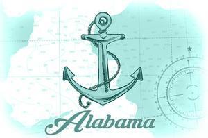 Alabama - Anchor - Teal - Coastal Icon by Lantern Press