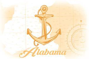 Alabama - Anchor - Yellow - Coastal Icon by Lantern Press
